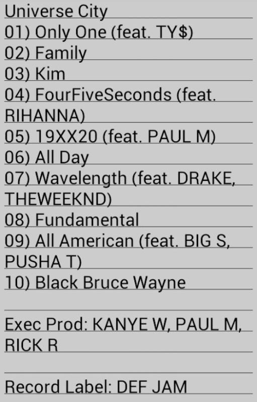 Kanye West album tracklist leak! | Genius