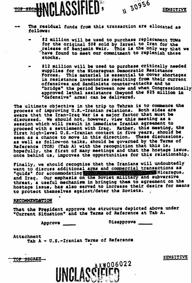 "Oliver North – Release of American Hostages in Beirut (""Diversion Memo"") 