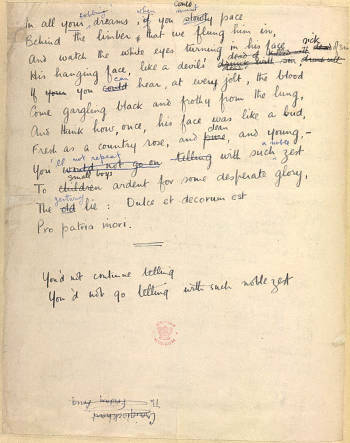 wilfred owen dulce et decorum est and mental cases Synopsis of mental casescommentary on mental casesthe book of  re-read dulce et decorum est notice owen's reference to the eyes of the victim of the.